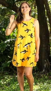 A-Line Dress - Murnubbarr Karrolka (Flying Magpie Geese) Yellow