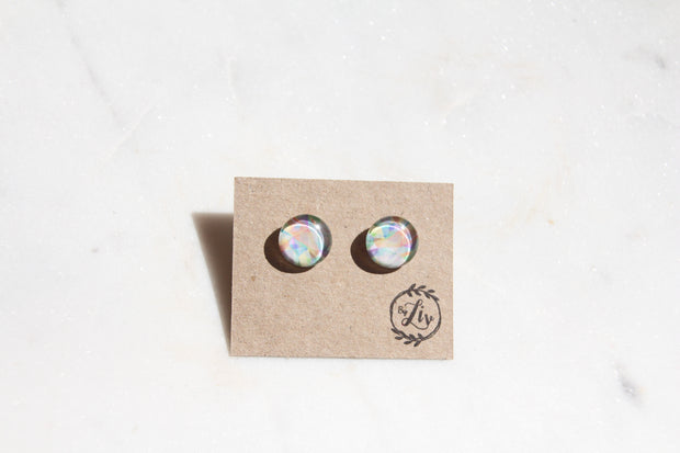 Colour Splash Glass Sterling Silver Stud