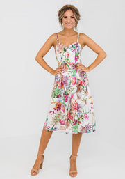 Tropical Button Bust Midi Dress With Pockets