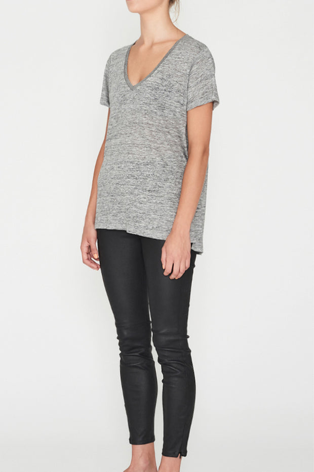 Linen V Neck Tee Grey Marle