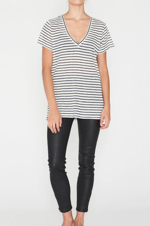 Linen V Neck Tee Navy Stripe