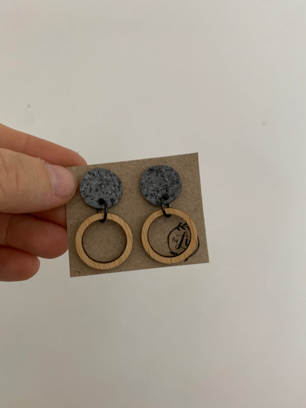 Grey & bamboo neutral dangles