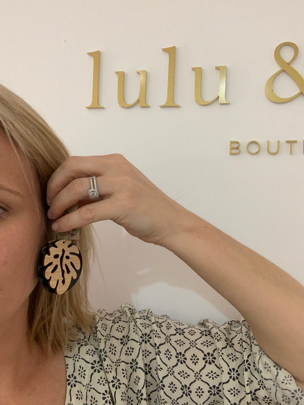 Neutral bamboo monstera statement earrings