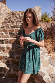 Clementine Bonne Mini Dress Emerald