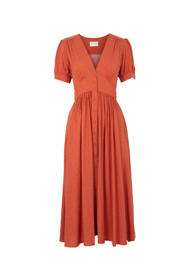 Florence Maple Midi Dress Terracotta