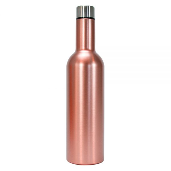 Wine Bottle - Double Walled - Stainless Steel - Rose Gold