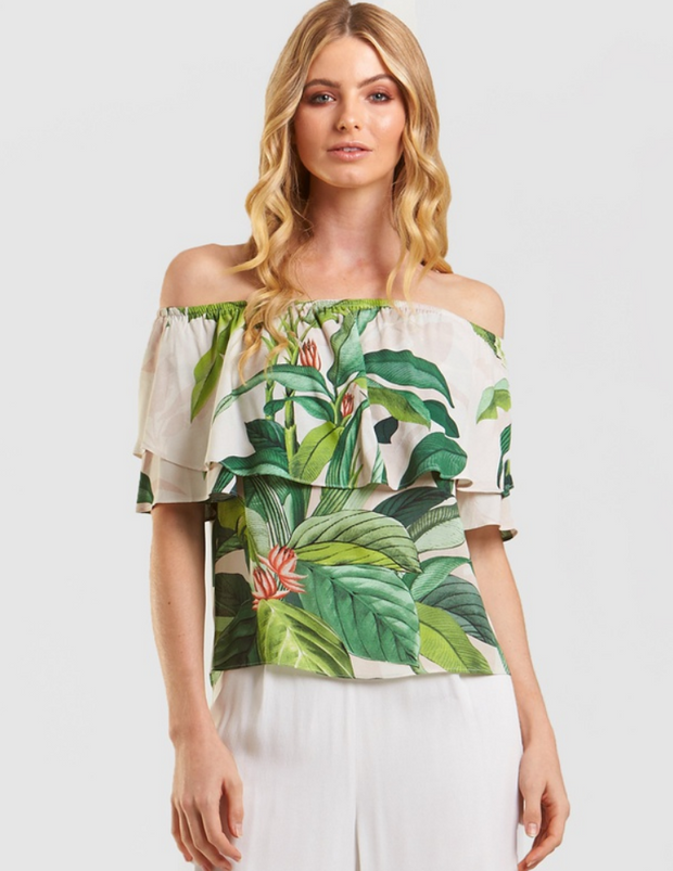 Tropical Palm Print Top