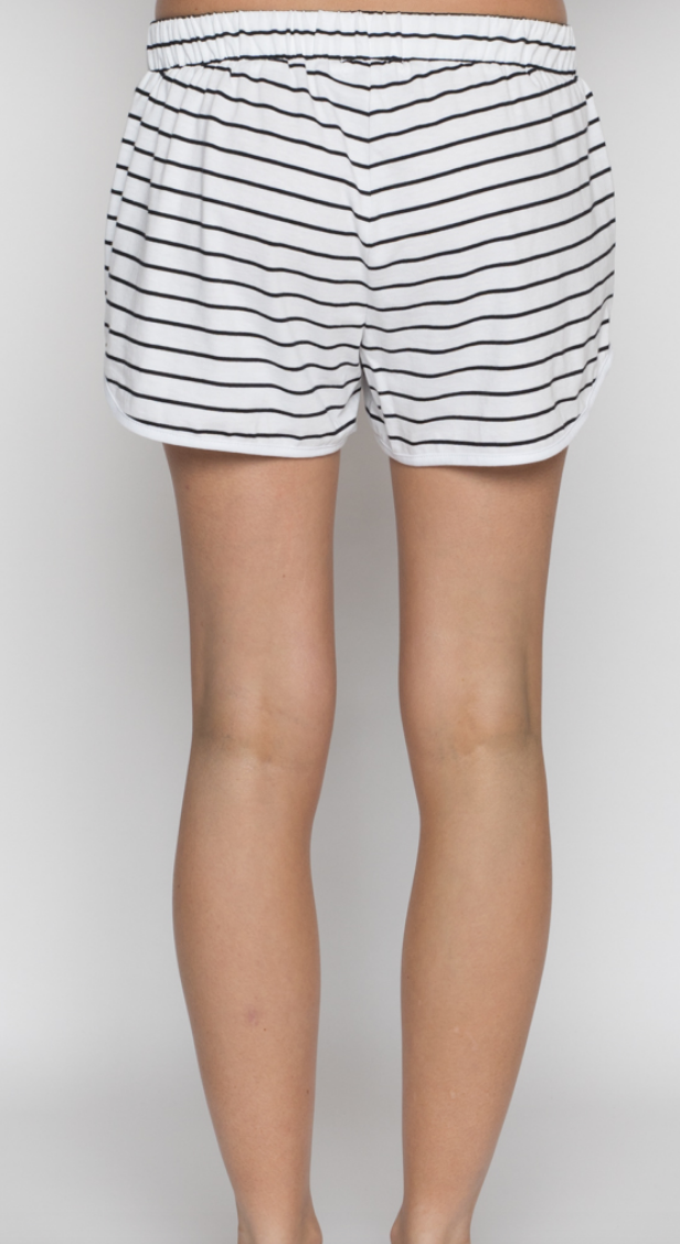 Luxe Organic Cotton Shorts Black Stripe
