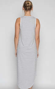 Mila Dress, Organic Cotton Black Stripe