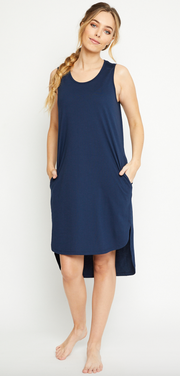 Olivia Dress, Organic Cotton Navy