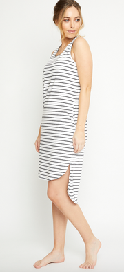 Olivia Dress, Organic Cotton Black Stripe