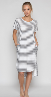 Daisy Dress, Organic Cotton Black Stripe