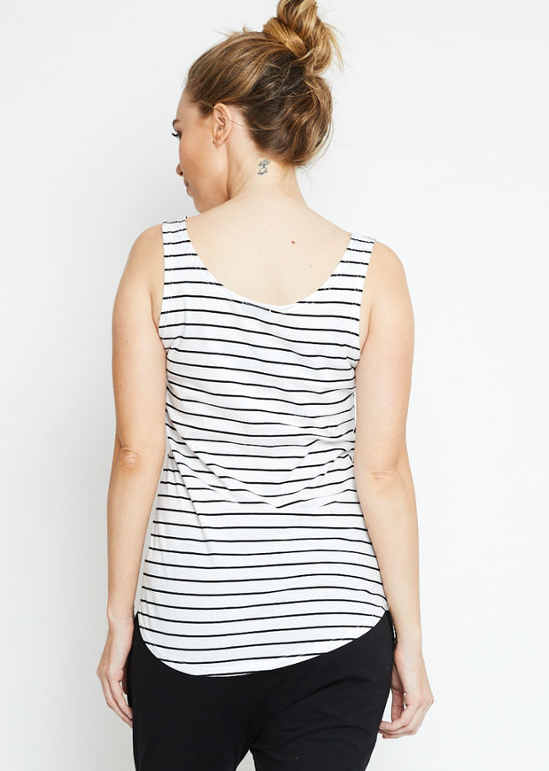 Singlet, Organic Cotton Black Stripe