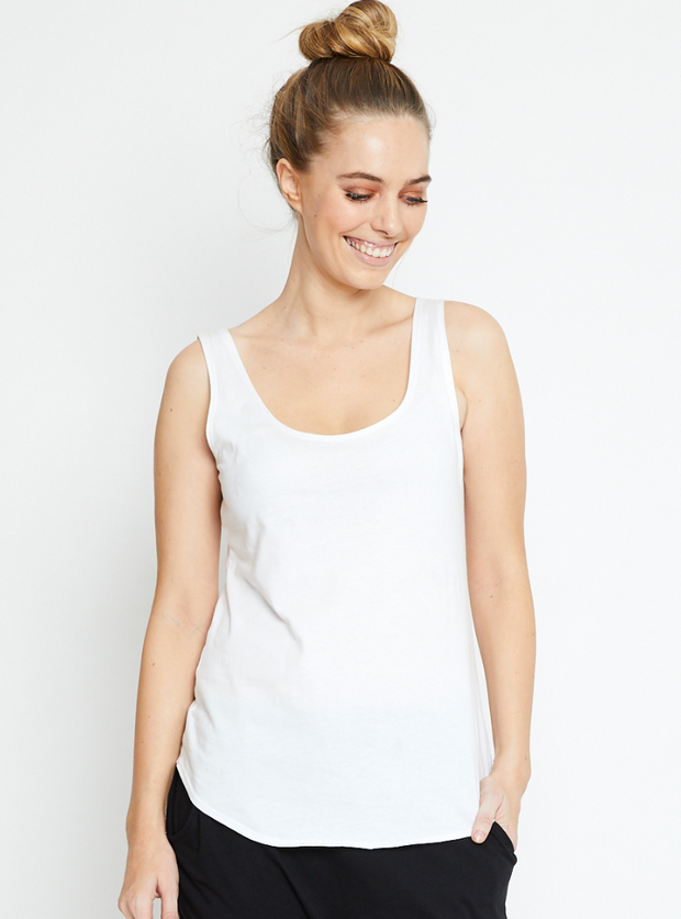 Singlet, Organic Cotton White
