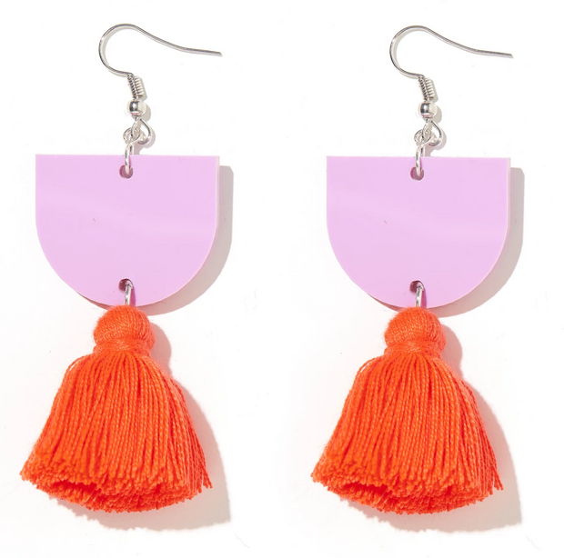Annie Earrings Lavender with Neon Orange/Red