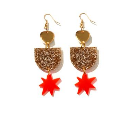 Floss Earrings Gold with Neon Red