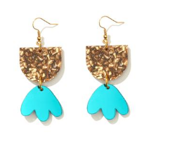 Bambi Earrings Bronze Chunky Glitter with Teal