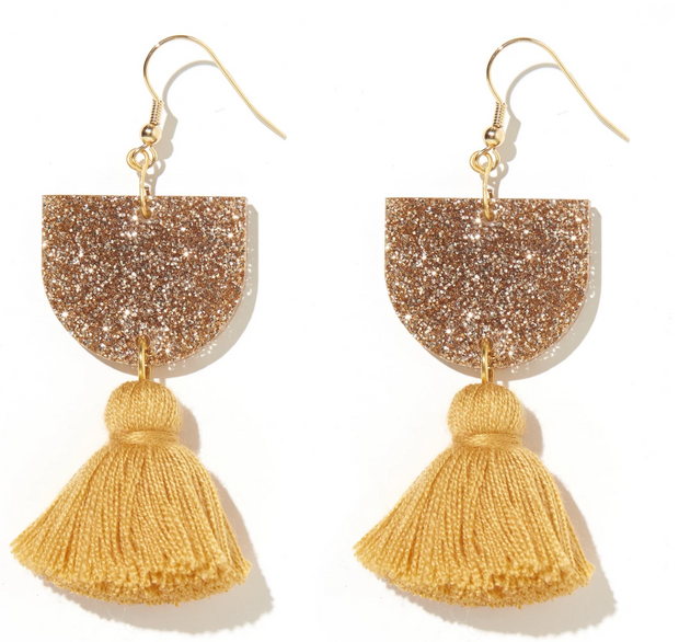 Annie Earrings Gold Glitter & Mustard