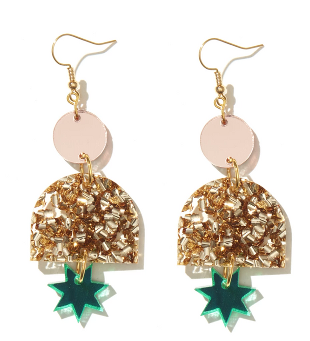 Alexa Earrings Rose Mirror Chunky Gold, Green