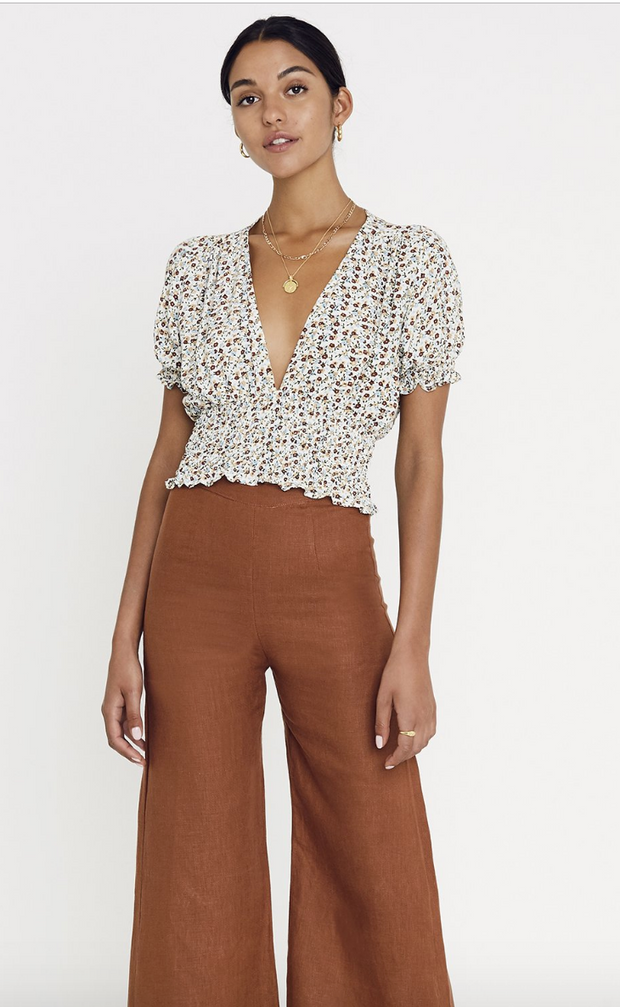 First Light Top Aurelia Floral Print Off White Chestnut