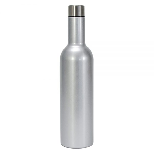 Wine Bottle - Double Walled - Stainless Steel - Silver