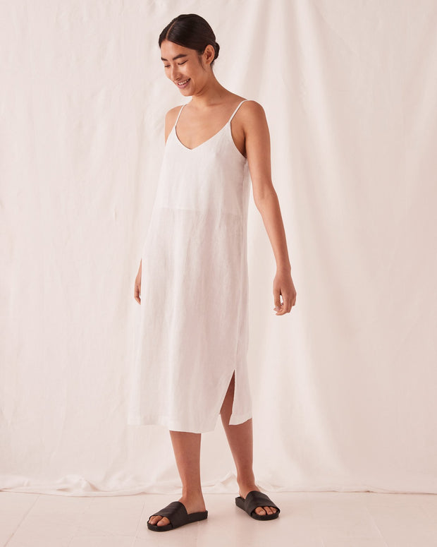 Linen Slip Dress Silver Grey