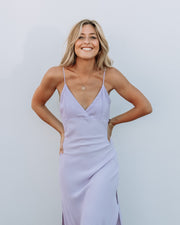 Midi Slip Dress Lilac Crepe