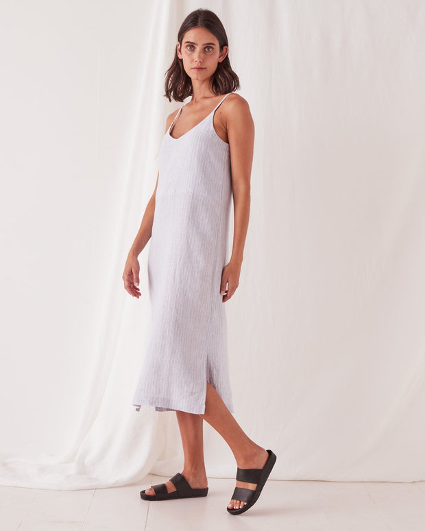 Linen Slip Dress Seamist Stripe