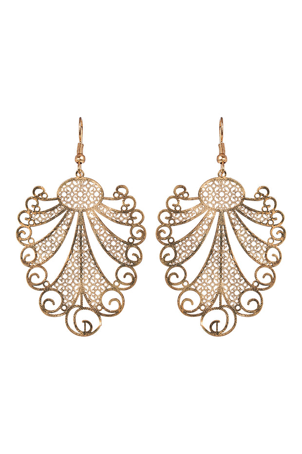 Zuma Earring Gold Fern