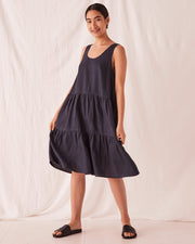 Tiered Linen Dress True Navy