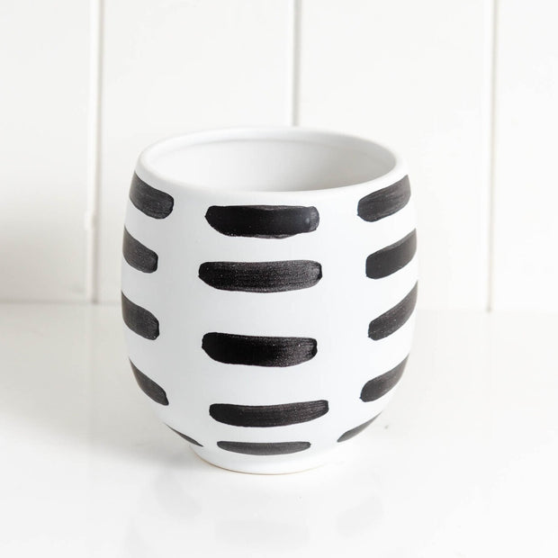 Planter - Monochrome Stripes