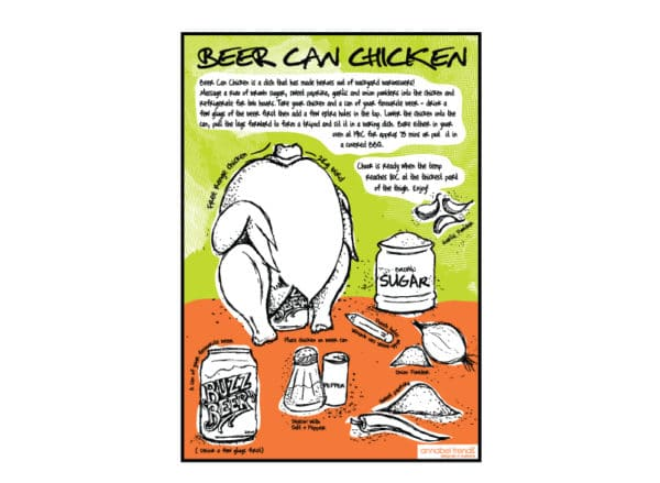 Linen Tea Towel - Beer Can Chicken