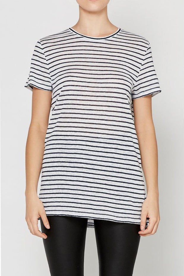 Linen Crew Neck Tee Navy Stripe