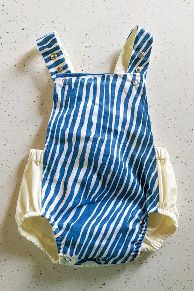 Baby Romper - Kuruyultu (Blue and White)