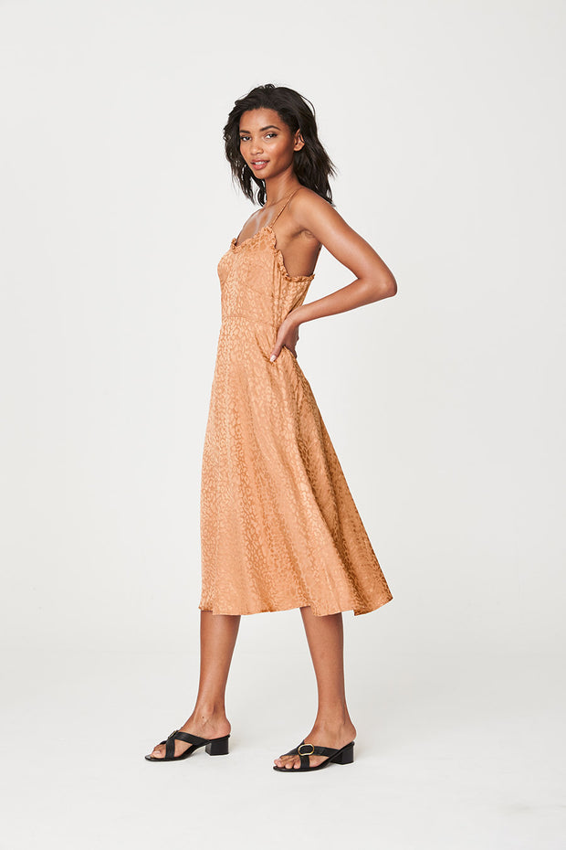 Lola Midi Dress Bronze Leopard