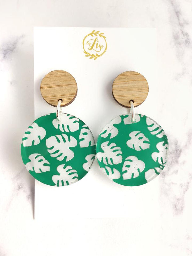 Green Monstera Dangles