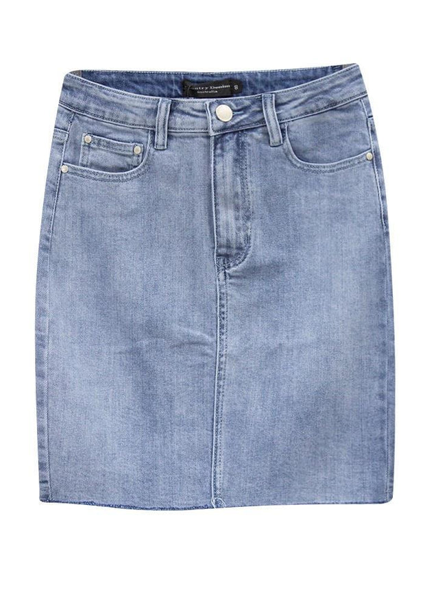 Country Denim Raw Hem Knee Length Skirt