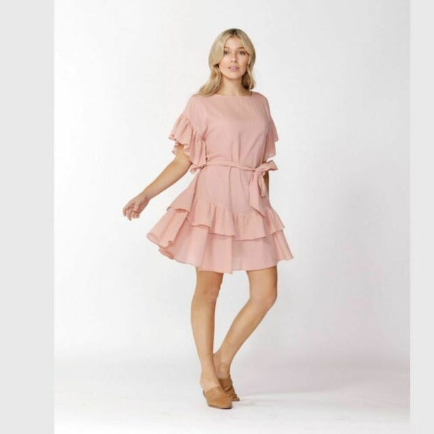 Ruffle Check Dress - Blush