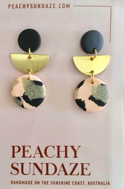Small Trio Peach, Black and Glitter Gold
