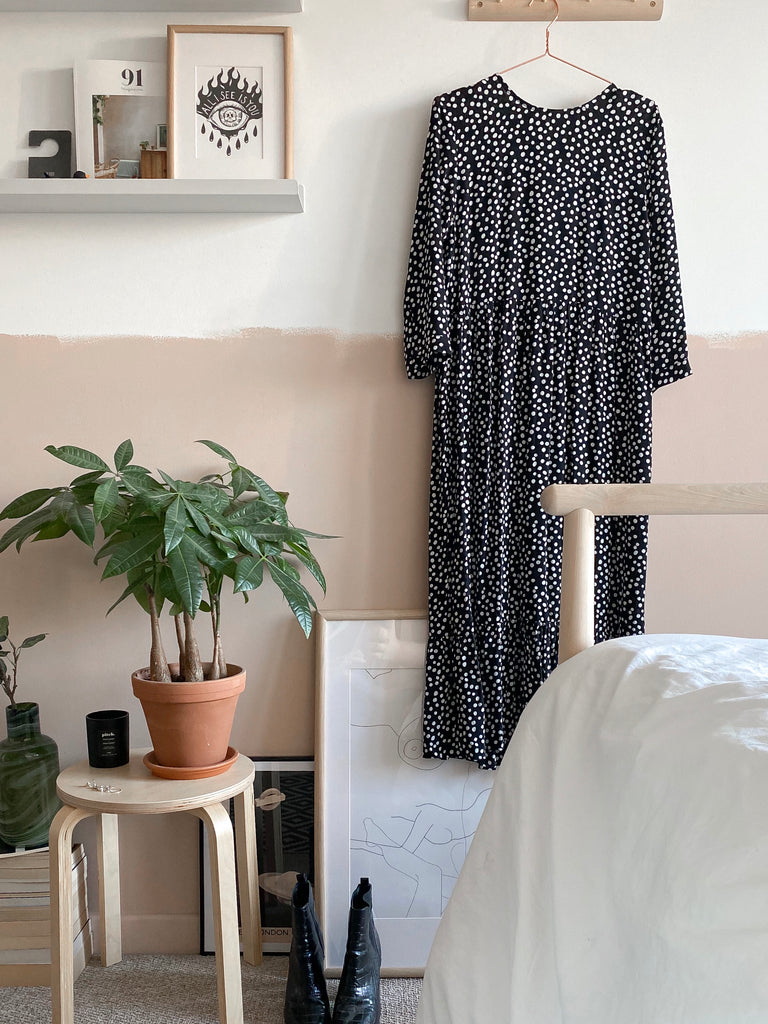Bedroom side table with house plant