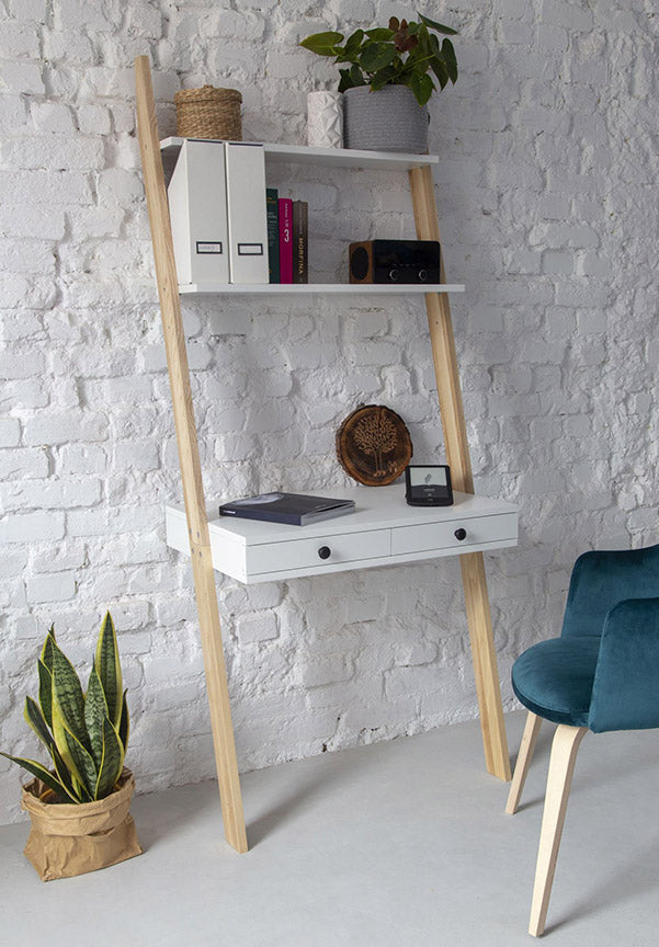 Leaning ladder shelf desk