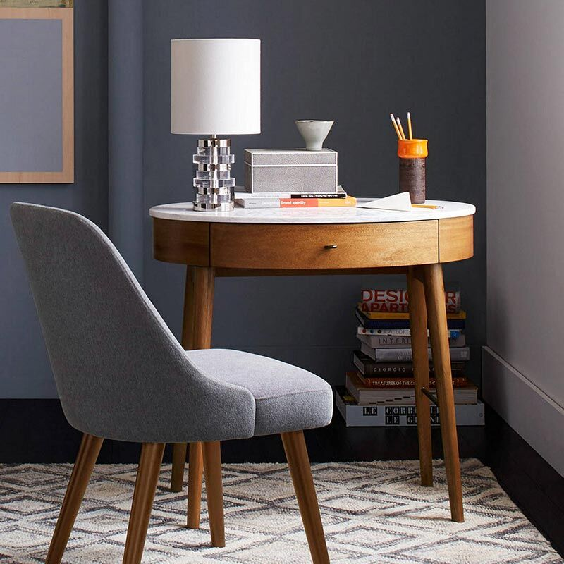 Multi-tasking desks, small oval table with marble top
