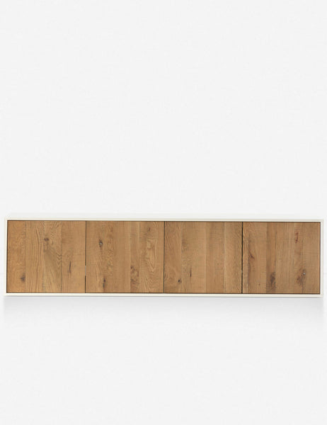 Light wood floating console table