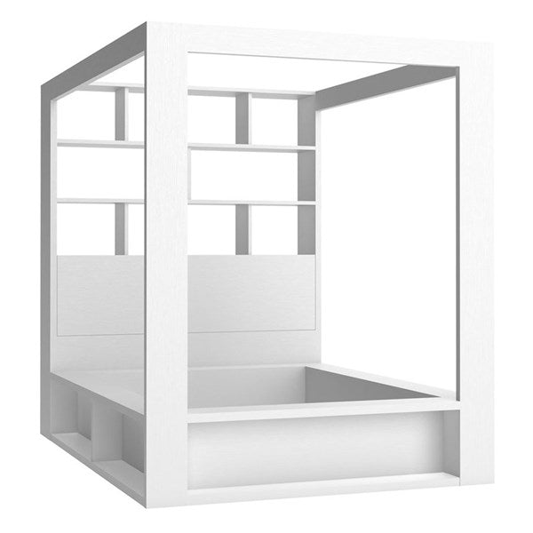 Vox 4 You 4 Poster King Bed with Storage & Shelves in White