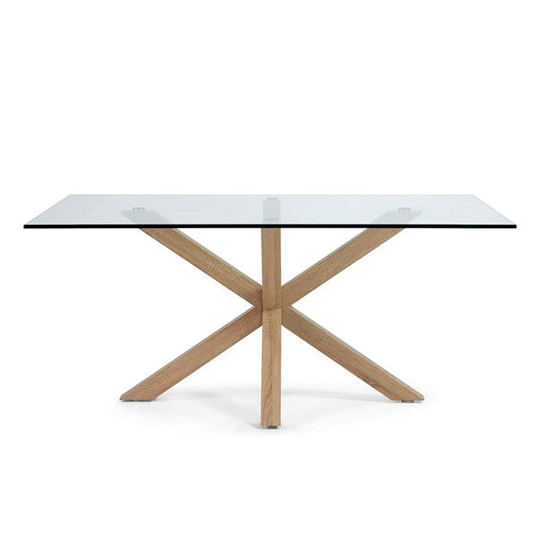 Arya Glass Dining Table with Cross Legs in Wood Effect