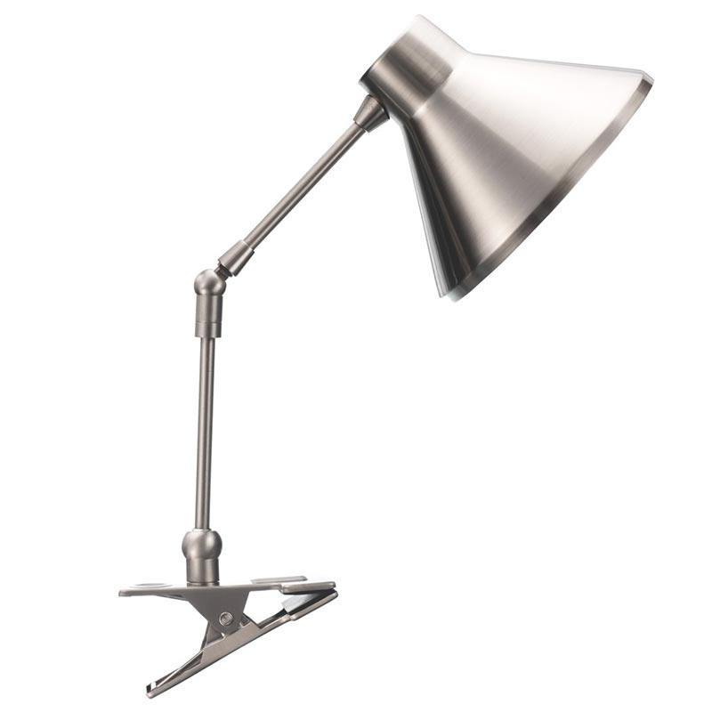 Clip on desk light silver