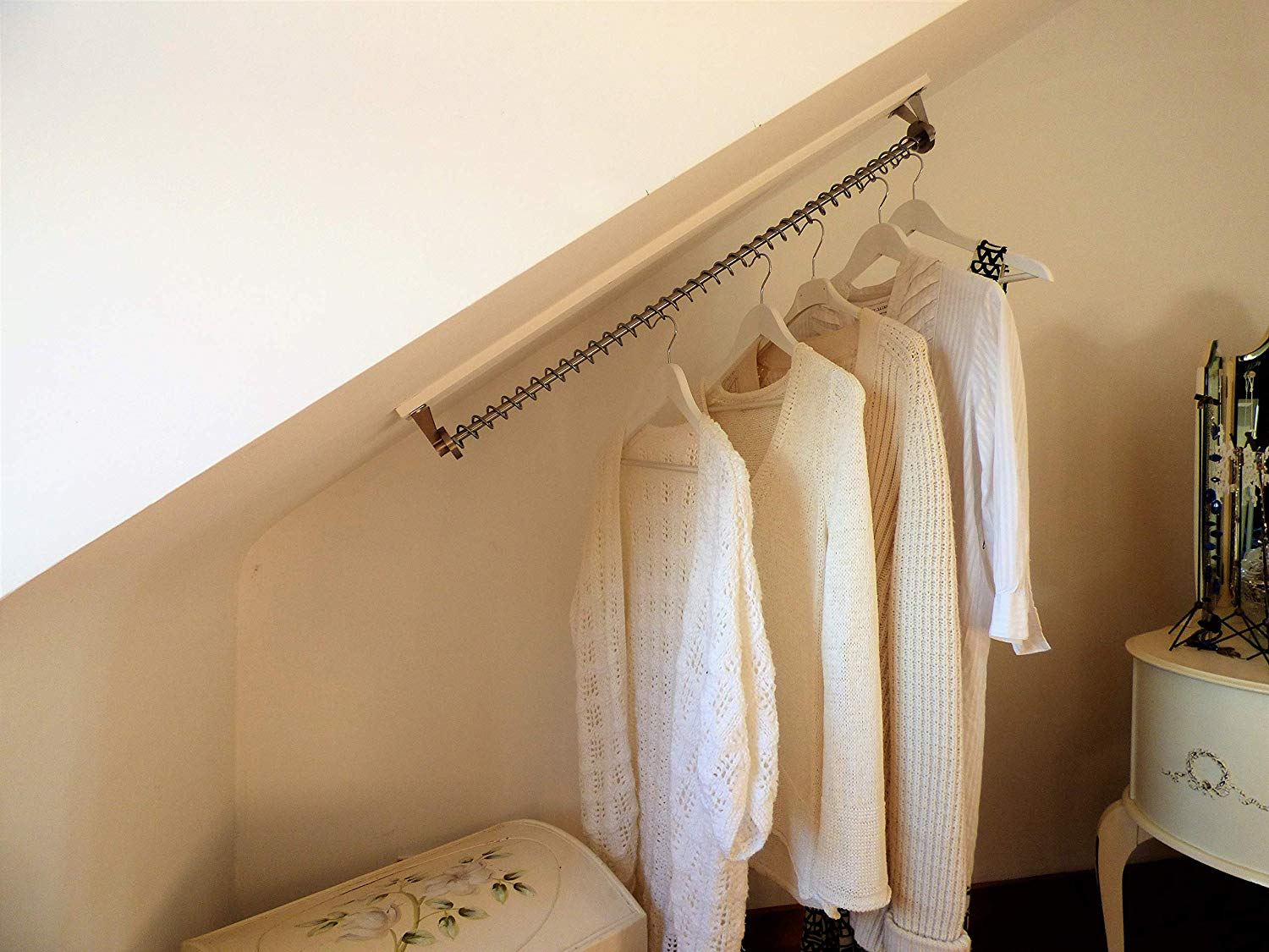Waterfall Clothes Hanging Rail Rack. Storage For Sloping Angled Ceilings (900 mm)