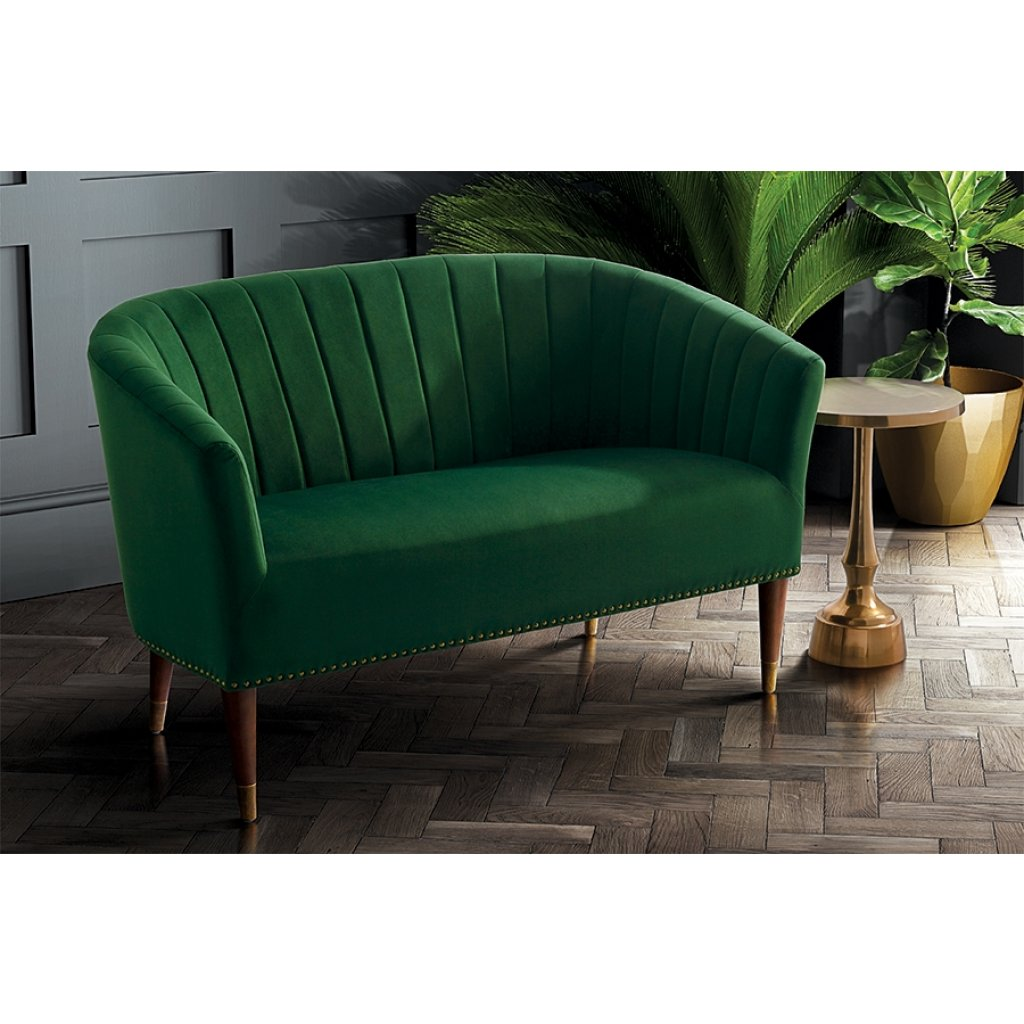 Green velvet art deco sofa