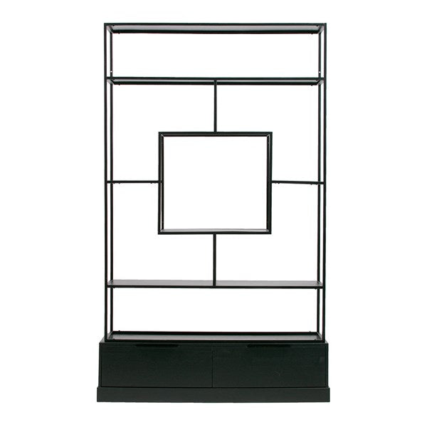 Fons Black Shelving Unit with Drawers