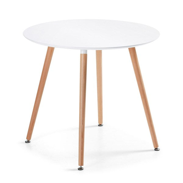 Daw Round Dining Table in White & Beech